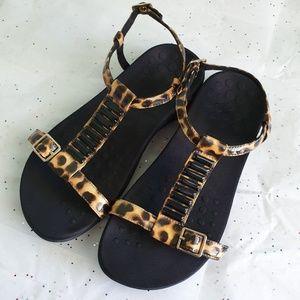 VIONIC Leopard Print Navassa Slingback Sandals 7